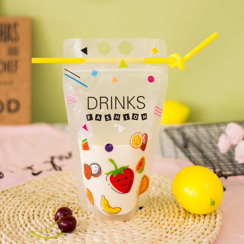 100Pcs/lot  450ml Cute Fruit Cartoon Colorful Plastic Drink Packaging Bag Pouch for Beverage Juice Milk Coffee,with Holes Handle