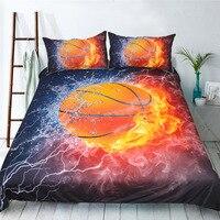 Children's Bed Linen Set 3pcs Fire Basketball Bed Outlet Comforter Duvet Cover Set Breathable Bedchlothes King Size Bedding Set