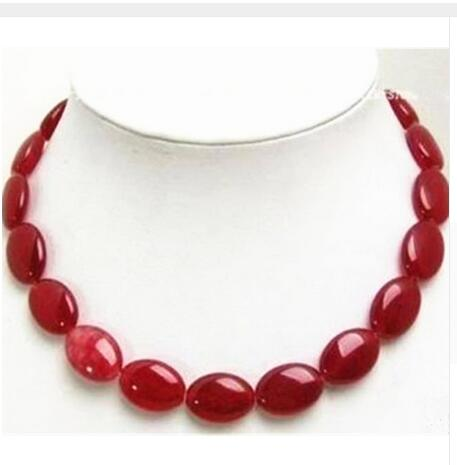 Women Gift gem beads jewelry Beautiful Natural 13x18mm red stone oval shape stone beads necklace semi precious in Chain Necklaces from Jewelry Accessories