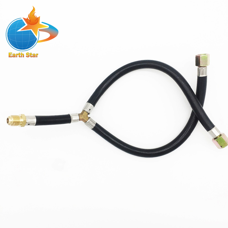 3/8 Flare Gas barbecue GRILL connection flexible hose Y Splitter Hose assemly parts inlet pipe for BBQ stove