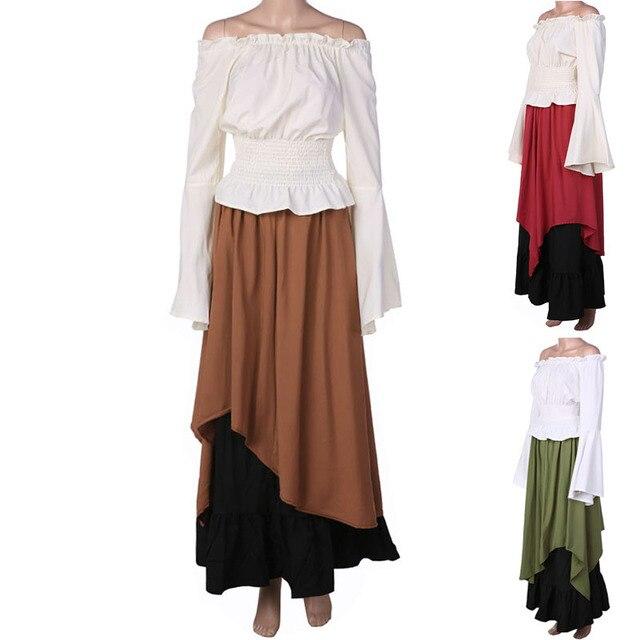 d85e2a832 Female Women Medieval Renaissance Court Wench Costume Off Shoulder Cincher  Top Skirt Set Clothes Outfit For Ladies Plus Size