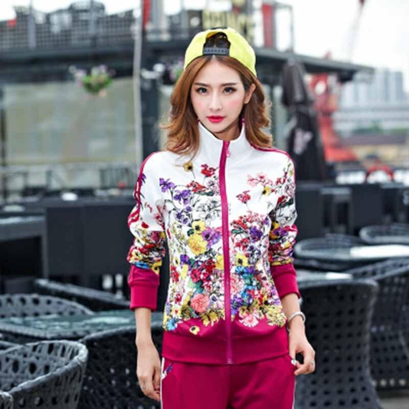 Plus Size Sportwear Set  L-5XL Tracksuit Two Piece Outfits Women Long Sleeve Top And Long Pants Autumn Fashion Floral Print Wome