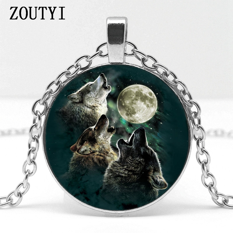 2018 / hot sale, three wolves under the moon pattern glass pendant necklace wearing jewelry.