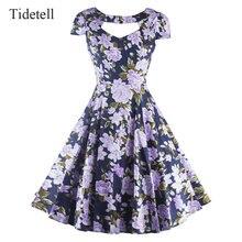 Neue v-ausschnitt kurzen ärmeln knielangen cocktail dress vintage gedruckt hochwertigen patchwork mitte länge 1950 s dress elegante dress
