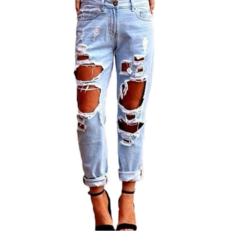 Slim Hole Ripped Jeans for Women Mid Waist Denim Plus Size Loose Cool Pants Blue 2017 Casual Design Female Pencil Trousers 40*J/