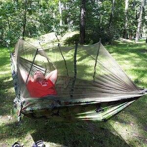 Image 2 - Hamaca colgante de paracaídas para 1 2 personas, mosquitera para exteriores, cama para dormir, columpio, silla doble portátil, verde militar
