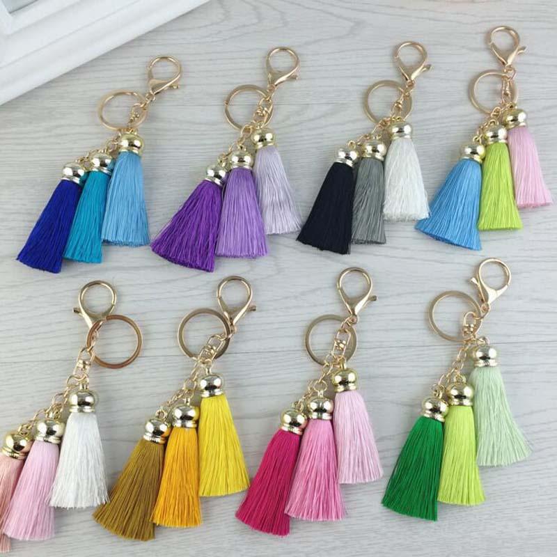 New Fashion Tassel Key Chain Women Cute Tassel Keychain պայուսակի պարագաներ Մետաքսի շղարշ մեքենայի բանալի օղակի զարդեր