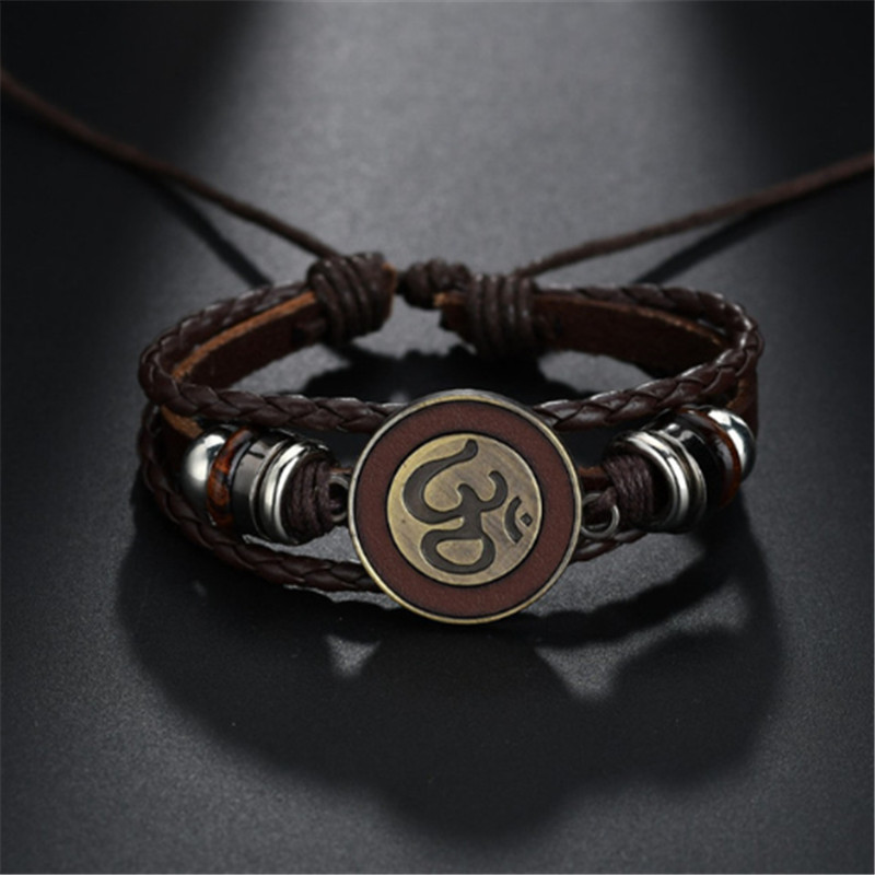 Retro Brown Rope Chain Leather Bracelets With Antique Gold Om/Ohm/aum Charm Adjustable Bracelet Bangle For Men Women Jewellery