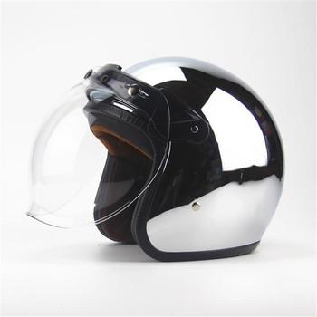 Darmowa wysyłka nowa spersonalizowana moda chrome cascos capacete kask motocyklowy 3 4 otwarta twarz vintage skuter jet kaski tanie i dobre opinie Wanli 1 2kg Otwórz twarzy Unisex