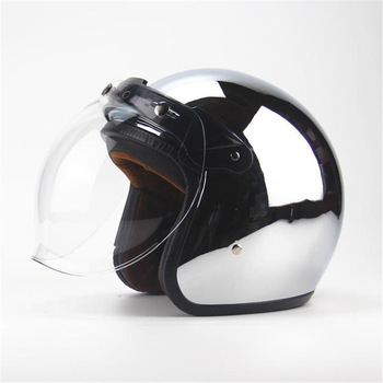 Free shipping new personalized fashion chrome cascos capacete motorcycle helmet 3/4 open face vintage scooter jet helmets free shipping motorcycle helmets retro vintage open face helmets design modular removable visor motorbike jet vintage helmet sy