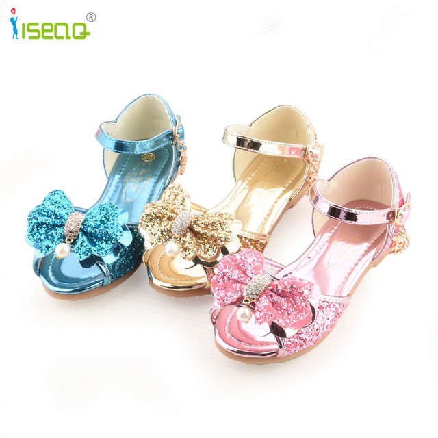 placeholder girls sandals Summer Children Princess shoes girl fashion party  sandals kids dancing shoes Rhinestone bow flats 4e927be86471