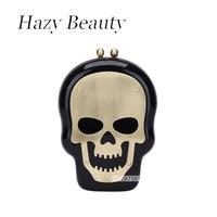 MM FOND acrilico rigido disegno della roccia borsa da sera delle donne chic skull moda signora skeleton croce corpo borsa di modo dell'annata A347