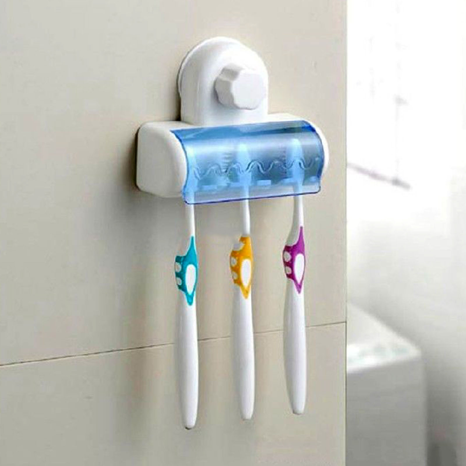 Multifunctional Bathroom Suction Cup Toothbrush SpinBrush Hanging Holder Stand Lidded 5 Racks toothbrush image
