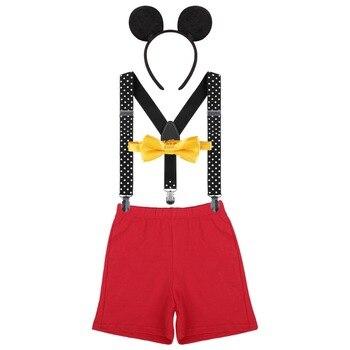 4 stuks Set Baby Boy Meisje Kleding Bloeiers Y Terug Bretels Hoofdband Mickey Mouse Baby Verjaardag Foto Kostuum Taart Smash outfit