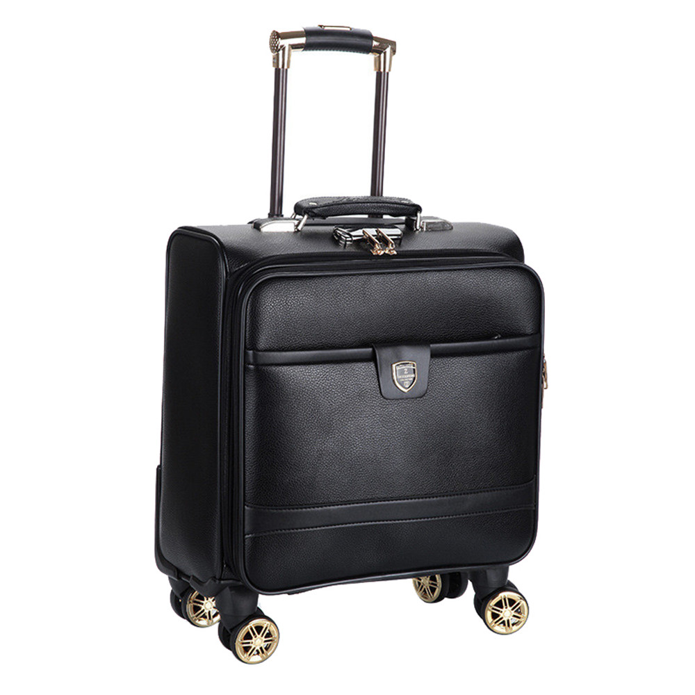 16 inch Business Casual men s board chassis trolley suitcase caster oil skin lockbox rolling luggage