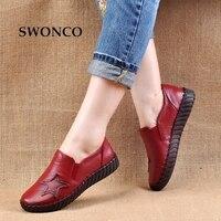 SWONCO Women's Flats Handmade Shoes 2018 Spring Autumn Genuine Leather Ladies Shoe Flat Shoes Women Leather Retro Shoe