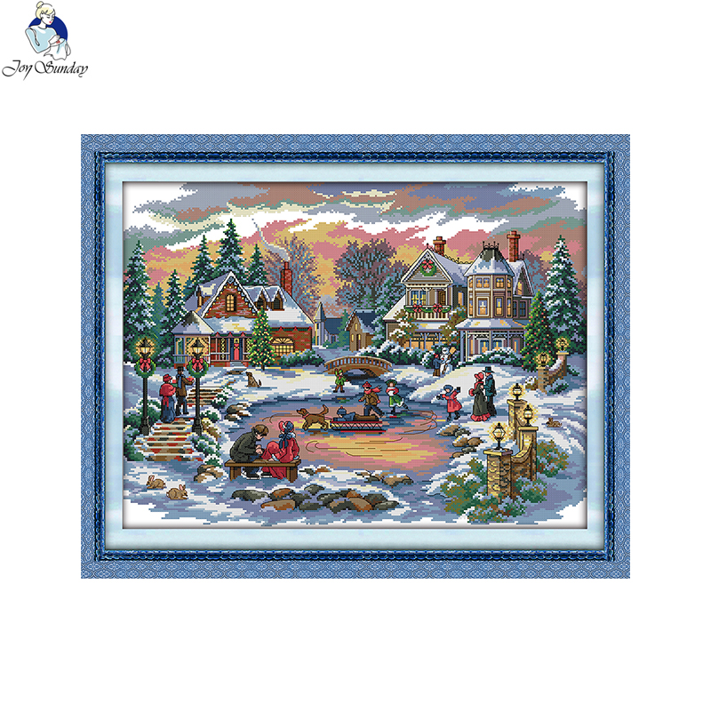 Joy Sunday Sled Dog Dmc Counted Chinese Cross Stitch Kits Printed Cross-stitch Set Embroidery Needlework Electronic Components & Supplies