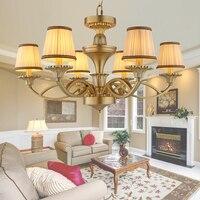European American Rural Living Room Chandelier Lamp Iron Retro Antique Copper Brass Color Premium Vintage Chandelier