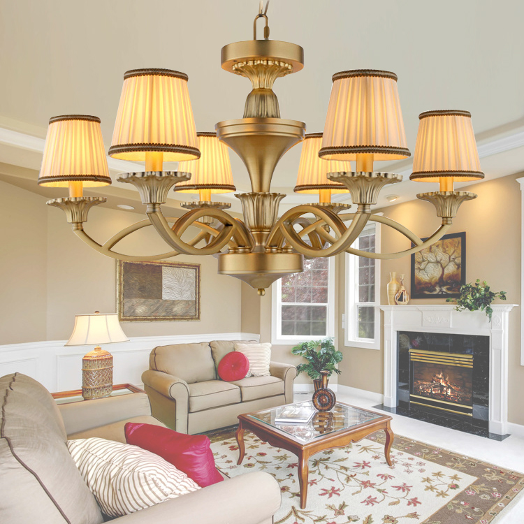 European American Rural Living Room Chandelier Lamp Iron Retro Antique Copper brass color Premium vintage chandelier