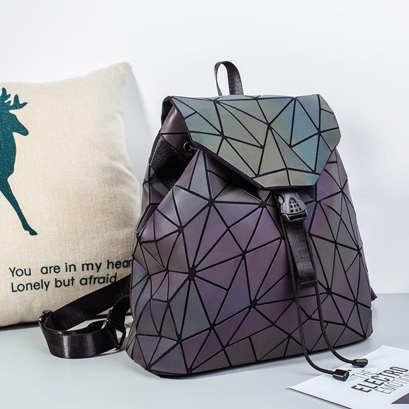 HTB1LI9eaq5s3KVjSZFNq6AD3FXa8 Bao Women Backpack Luminous Drawstring Female Daily Backpack Geometry Backpacks Folding School Bags For Teenage Girls Mochila