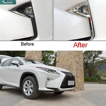 Tonlinker 2 PCS Car Styling DIY ABS Mirror/Matt Four Style Front fog Light box Cover Case Stickers for Lexus RX200t 450h 2016