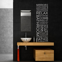 Wall Decal BATHROOM Wall Sticker Home Decoration Vinyl Wall Lettering Words Decals Decal 45cmX150cm Free