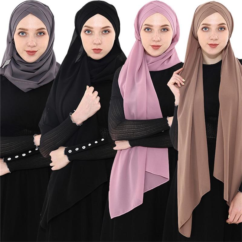 2019 Women's Chiffon Muslim Scarf Ramadan Soft Solid Instant Hijab Shawls Headscarf Easy Ready To Wear Islamic Wrap Head Scarves