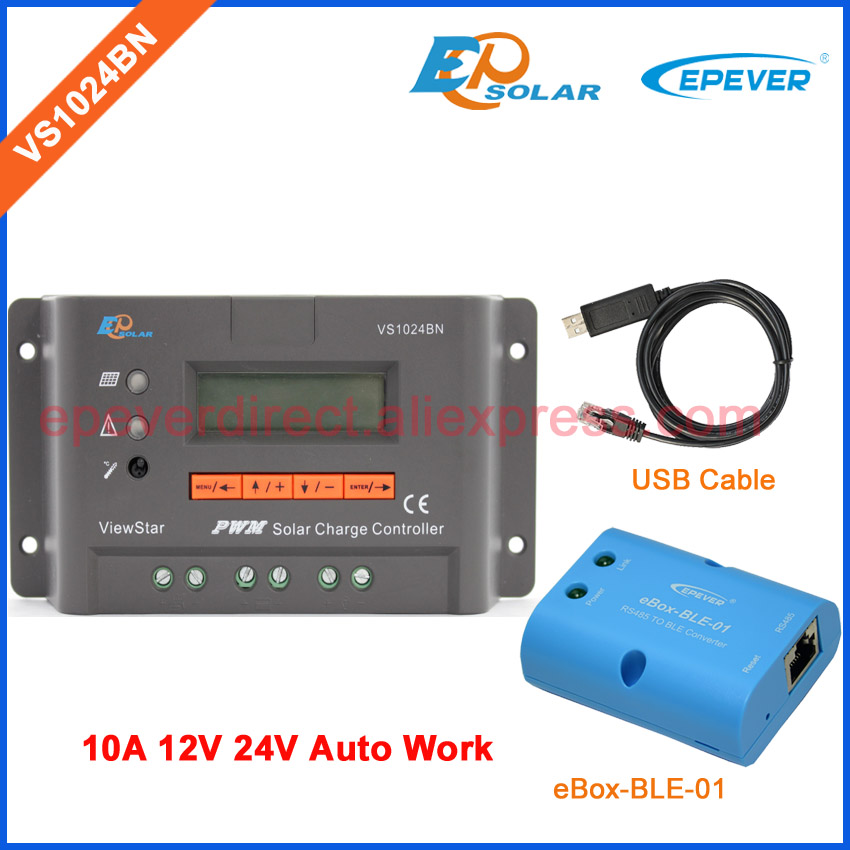 USB cable connect controller to PC software PWM VS1024BN pwm charging solar regulator 10A eBOX-BLE-01 bluetooth function APP gev237 cable connect rx1210 controller series to gx grx1200 gps receiver