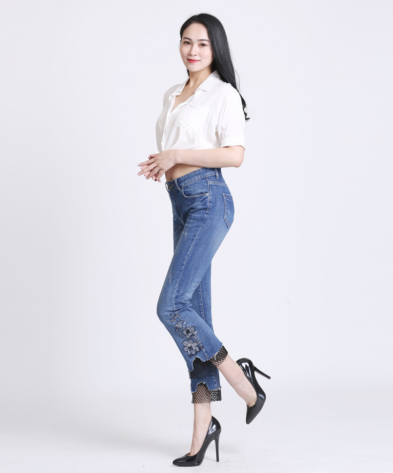KSTUN jeans trousers for women high waist slim fit flared pants embroidery floral bell bottoms lace net pantacourt homme large 14