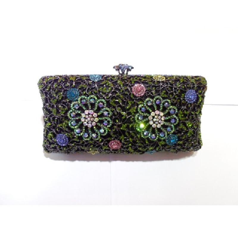 ФОТО 2011D Crystal Floral Flower Lady Fashion Bridal Party hollow Metal Evening purse handbag clutch bag box case