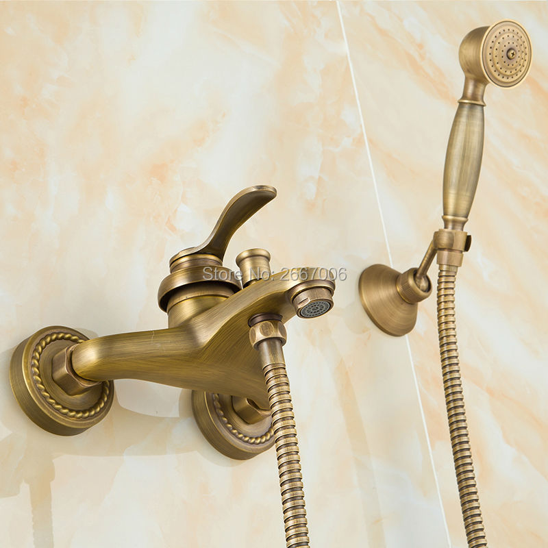 Free shipping European Style Antique Plating Bronze Shower Faucet Set Single Handle Shower Mixer with handshower ZR006