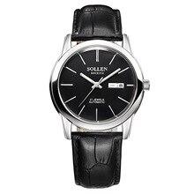 SOLLEN Классический Черный Автоматические Часы Мужчины Военная Настоящее Кожаный Ремешок Часы Люксовый Бренд Наручные Часы SL9001E
