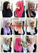 2017 Plain Hijabs Muslim Inner Cap Promotion Adult Plain Hijabs Diamonds Chiffon New Fashion Women's Headscarf Veil Drilling