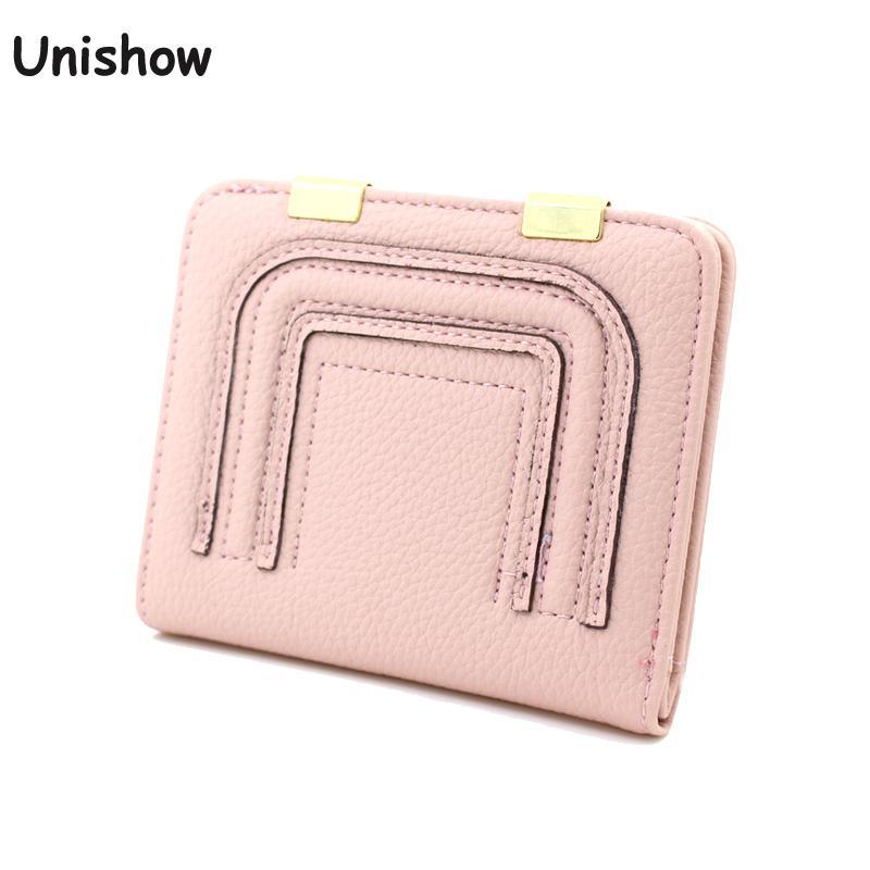 Unishow Mini Women Wallet Small Button Women Purse Litchi Pattern Women Small Purse Girl Coin Wallet Female Card Holders