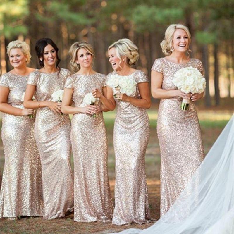 US $108.0 |Hot Selling New Bling Bling Gold Long Bridesmaid Dresses Short  Sleeve Mermaid Party Formal Gowns vestido de festa Custom B60-in Bridesmaid  ...