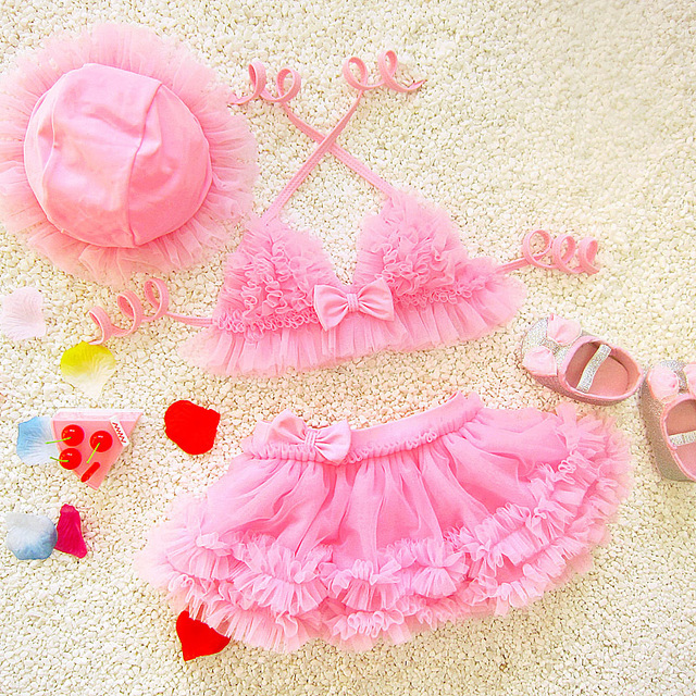7a55a844e4 Cute Tutu Skirt Swimsuits Girls Swimwear Bikinis Set W/Cap Two Piece Kids  Swimming Outfits Children Beach Bathing Suits 2018 DBO