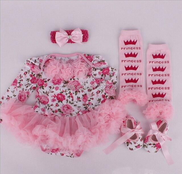 Новорожденных Девочек Детский Комбинезон 3 компл./лот Baby Rompers + Гетры + Повязка + Обувь младенческая детская одежда наборы 13 тип