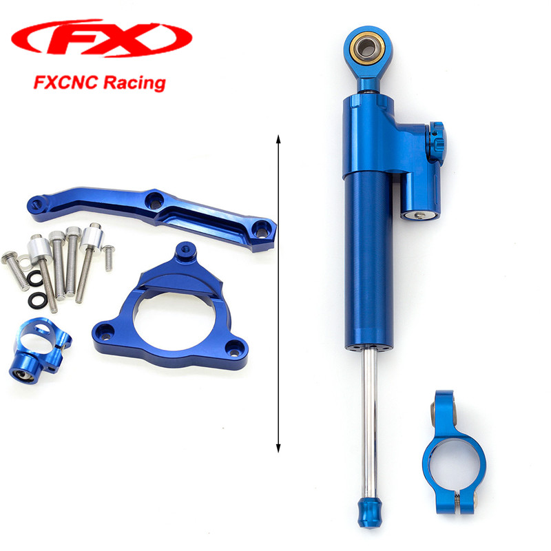 FXCNC Blue Motorcycle Steering Damper Stabilizer with Mounted Brackets Kits for Kawasaki Z800 13-15 Z-800 2013 2014 2015