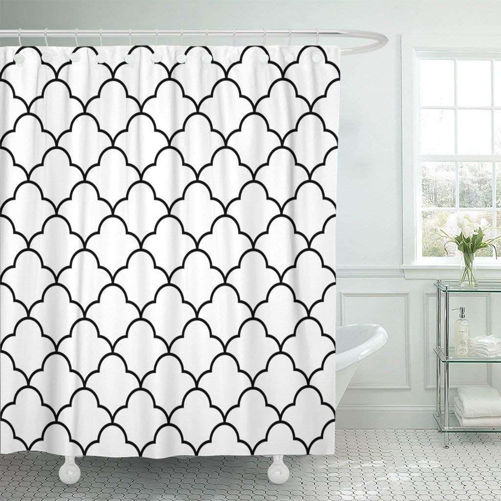 Traditional Curtains Us 17 48 30 Off Geo Black White Arabic Traditional Geometric Quatrefoil Lattice Trellis Ethnic Waterproof Shower Curtain Curtains In Shower Curtains