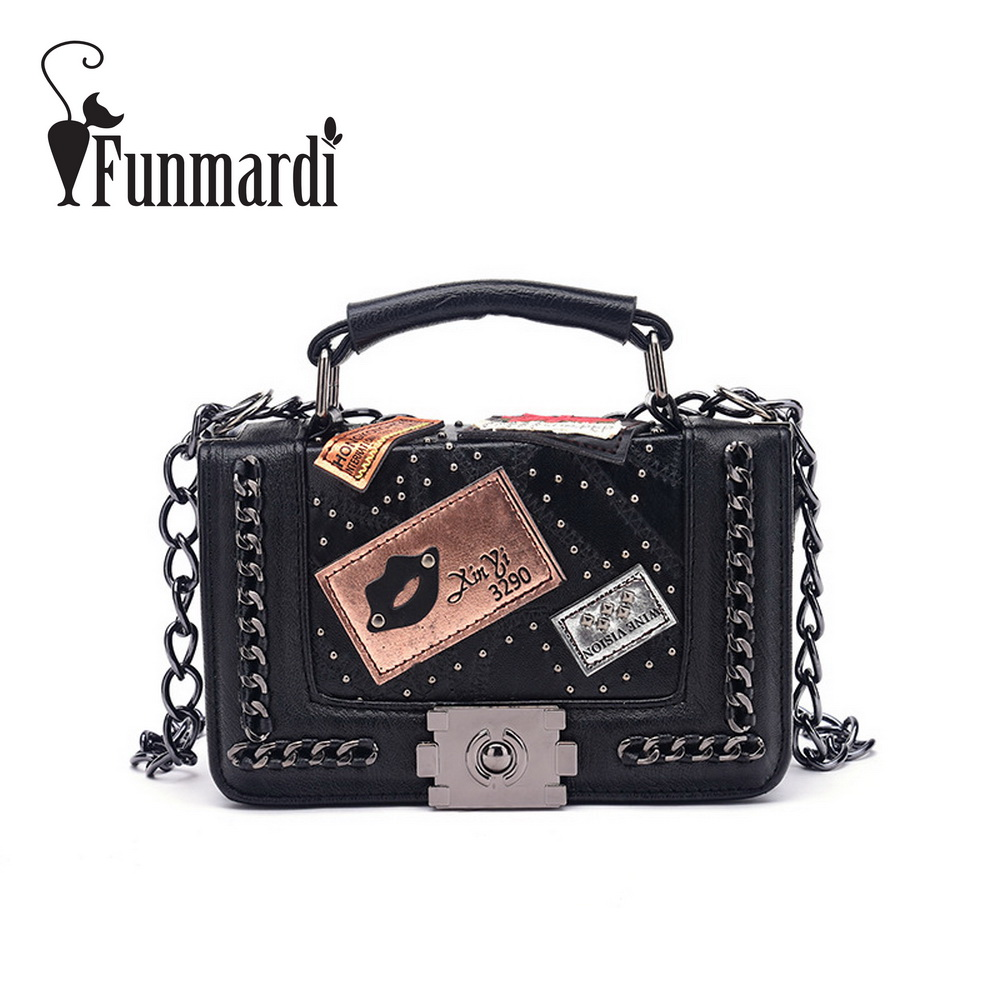 FUNMARDI Fashion Luxury PU leather messenger bag Badge design Chain crossbody bag vintage Rivet lock women bags WLHB1577 female brand design women bag fashion rivet messenger bags solid pu leather clutch bag vintage crossbody bag punk women handbag