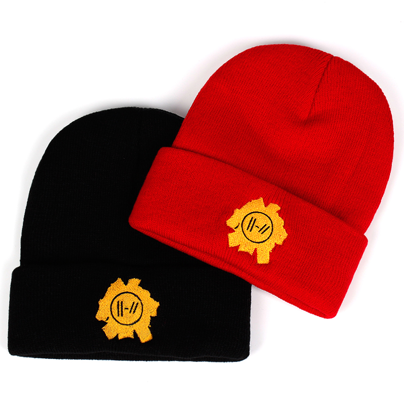 Rock band Twenty One Pilots Beanie Cap embroidery Cosplay Costume  Accessories Knitted Hat Costume Accessory Gifts Warm Winter-in Skullies    Beanies from ... 2f29c0296ba