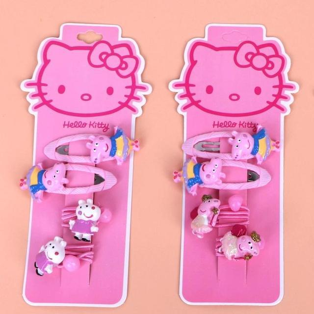 Fashion Children Headwear Elegant Hello Kitty Hair Clips Gum Elastic Bands Accessories Barrettes Scrunchies For