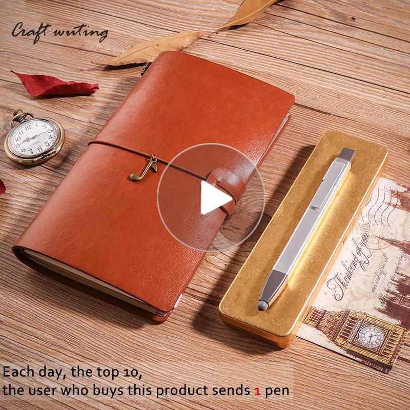 A6 Vintage en cuir TNotebook Journal Voyage Journal Planificateur papeterie Carnet L'ordre Du Jour DIY Recharge Papier D'anniversaire de L'école Gift531