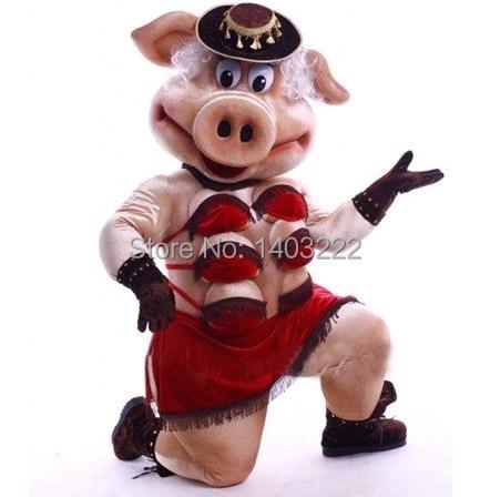 Kuklalar Striptiz Zolaqlı Donuz Swinish Mascot Kostyumunun yüksək - Karnaval kostyumlar - Fotoqrafiya 1