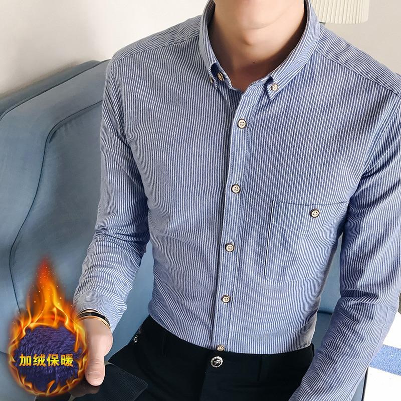 New Hot Shirt Men Casual Shirts Cotton Winter Wool Thick Warm Shirts Plaid Fleece Camisa Masculina Chemise Homme 4XL 5XL