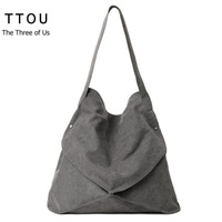 Ttou المرأة عارضة قماش الكتف حقيبة سعة كبيرة حمل حقيبة خمر مصمم للمتسوقين أكياس الإناث حقيبة تسوق