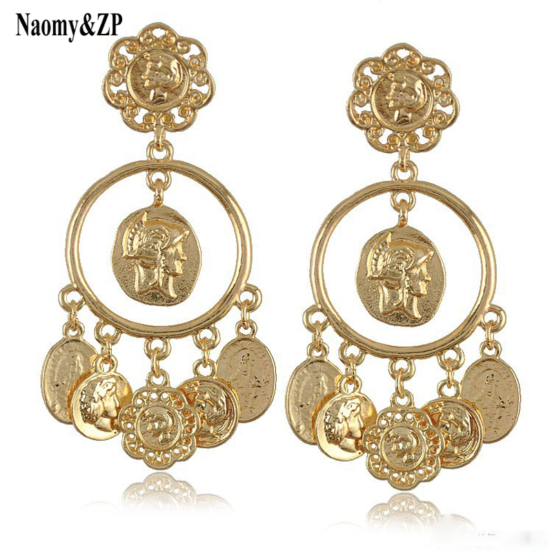 Brand Big Coin Gold Color Drop Earrings For Women Bohemia Vintage Trendy Earrings Tassel Party Fashion Jewelry Ethnic Earrings