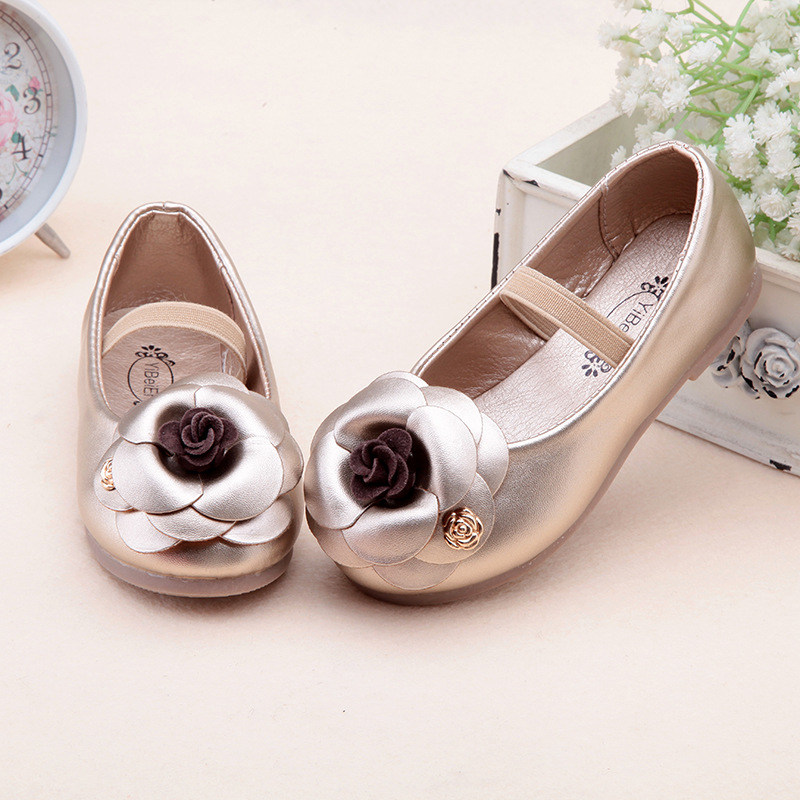 spring fashion flower girls shoes kids Korean style children pu leather shoes princess girls flats with elastic band dance shoes