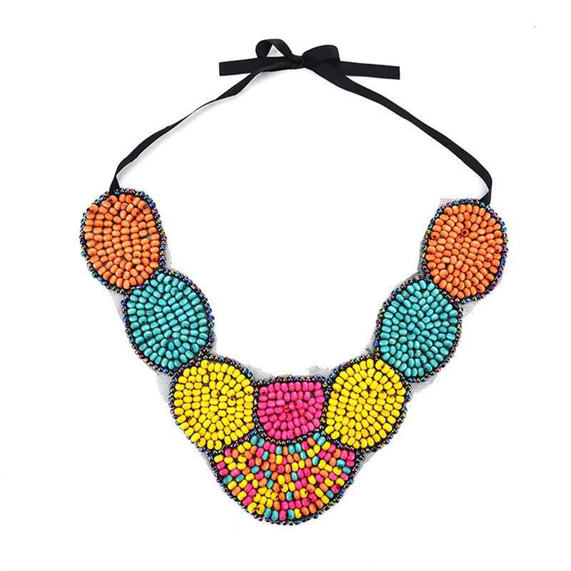 QianBei Fashion Women Jewelry Cloth ribbons Wood Bead Choker Chunky Statement Chain Bib Necklace Party Wedding Anniversary Gifts