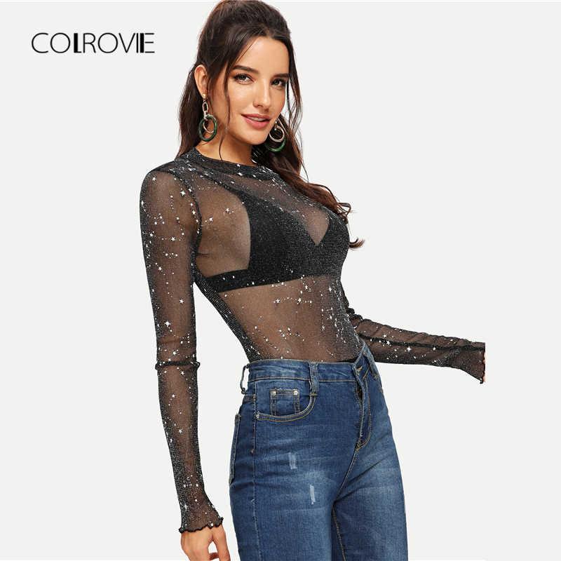 COLROVIE/черное однотонное Сетчатое прозрачное элегантное боди с длинными рукавами для женщин; сезон осень; клубный стиль; пикантные женские боди для офиса